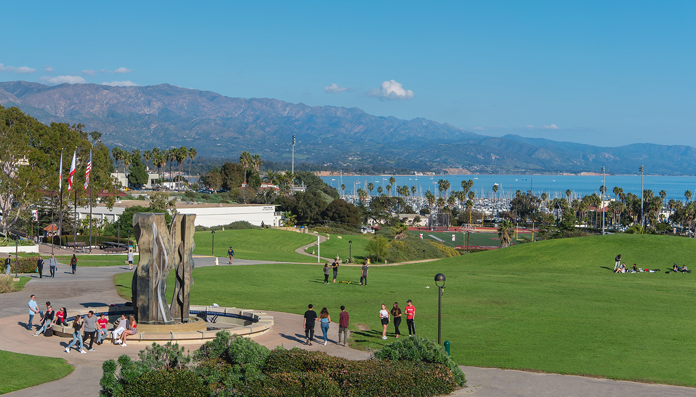 Santa Barbara City College international students on West Campus overlooking the ocean.