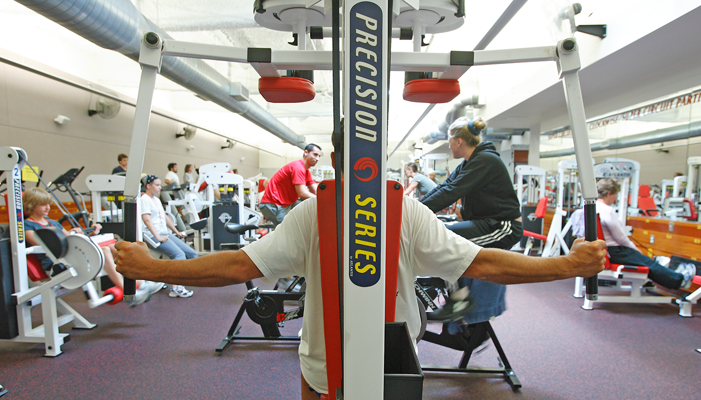 SBCC Life Fitness Center with students working out.